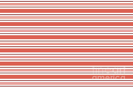 Pantone Living Coral Thick and Thin Horizontal Lines Stripes by Melissa Fague