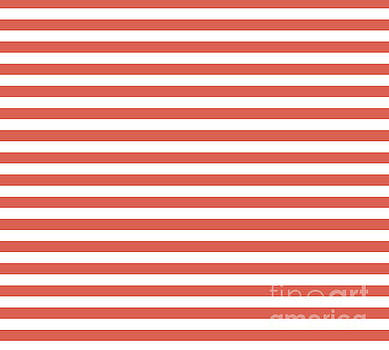 Pantone Living Coral Thick Horizontal Lines - Stripes by Melissa Fague