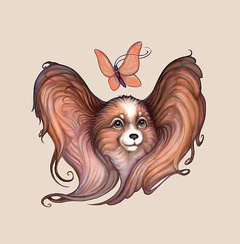 Papillon, Dog and Butterfly by Yullapa Yuliya