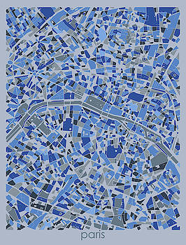 Paris Map Retro 5 by Bekim M