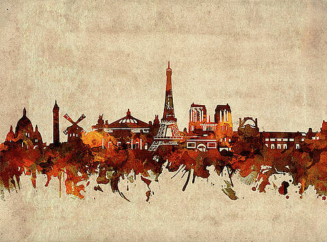 Paris Skyline Sepia by Bekim Art