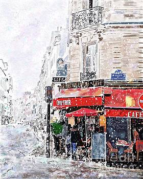 Paris Snowday Cafe by Beth Saffer