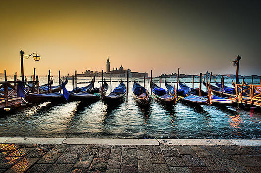 Parked gondolas, early morning in Venice, Italy.  by Ian Robert Knight