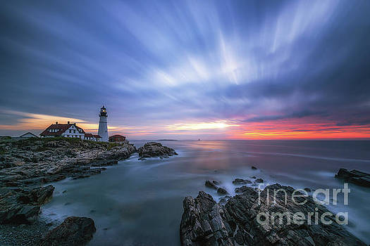 Passing Time at Portland Head Light  by Michael Ver Sprill