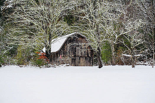 Patriotic Barn in the snow by Seth Solesbee