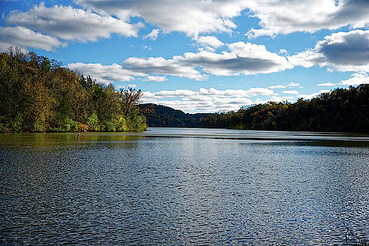 Peaceful lake in autumn by Peter Ponzio