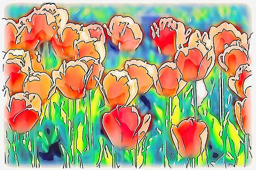 Peach Tulips Abstract by Susan Rydberg