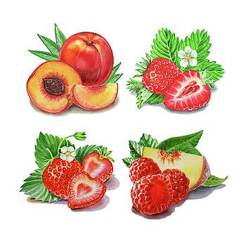 Peaches Strawberries Raspberries Watercolor  by Irina Sztukowski