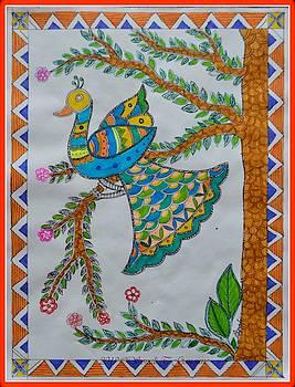 Peacock in Madhubani by Sonali Gangane