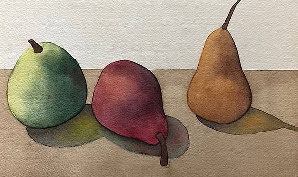Pear Study - Cool Colors by Nancy Goldman