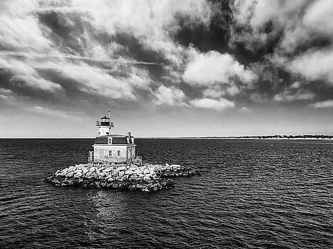 Penfield Reef Lighthouse Black and White by Stephanie McDowell