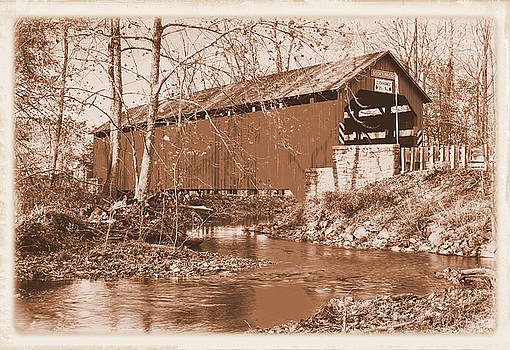 Pennsylvania Country Roads - Book's Covered Bridge Over Sherman Creek Sepia - Perry County by Michael Mazaika