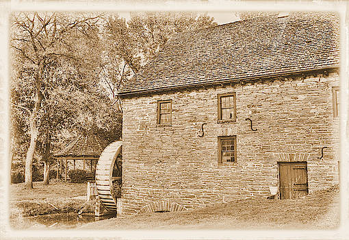 Pennsylvania Country Roads - Herr's Mill at Pequea Creek No. 1B in Sepia - Soudersburg, Pa by Michael Mazaika