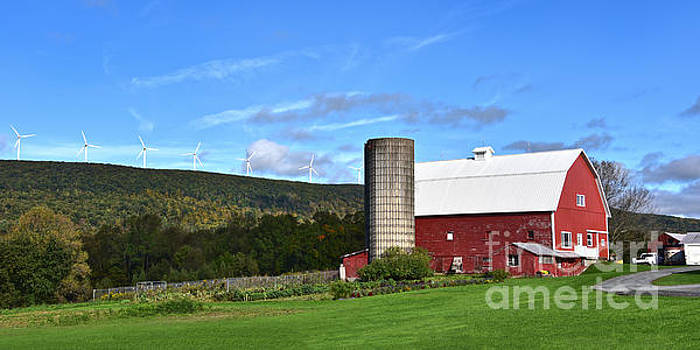 Pennsylvania Red Barn and Wind Turbines by Catherine Sherman