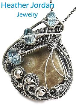 Petoskey Stone Wire-Wrapped Pendant in Antiqued Sterling Silver with Blue Topaz by Heather Jordan