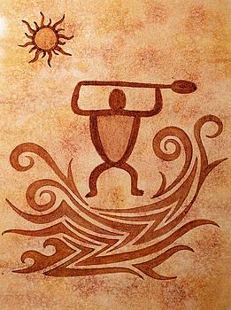 Petroglyph Paddler Tribal by DK Nagano
