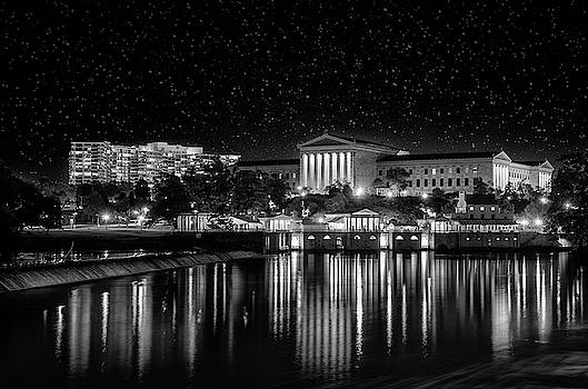 Philadelphia Art Museum Under the Stars in Black and White by Bill Cannon
