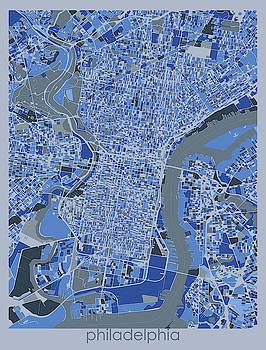 Philadelphia Map Retro 5 by Bekim M