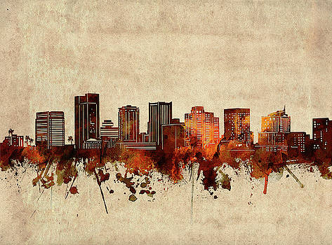 Phoenix Skyline Sepia by Bekim Art