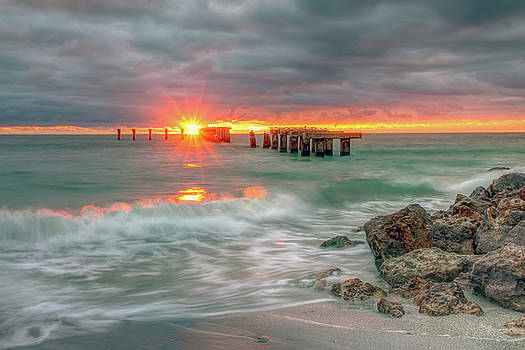 Ocean Sunset at Phosphate Railroad Tracks in Boca Grande Florida by R Scott Duncan
