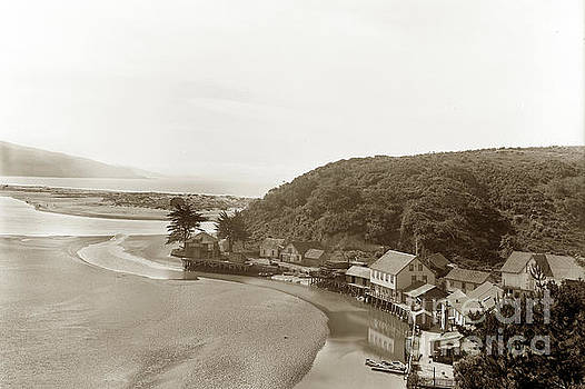 California Views Archives Mr Pat Hathaway Archives - Photo by E. A. Cohen of Bolinas houses on Wharf Road along the Bolinas Lagoon 1904