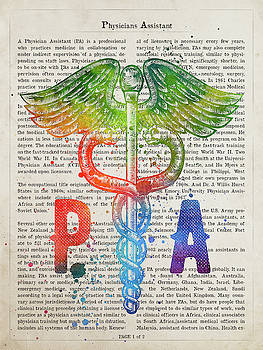 Physicians Assistant Gift Idea With Caduceus Illustration 03 by Aged Pixel