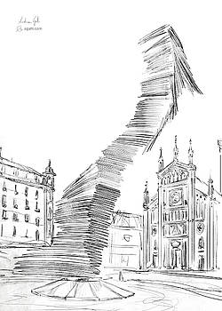 Piazza Benefica drawing by Andrea Gatti