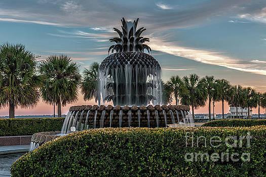 Dale Powell - Pineapple Fountain Sunset - Charleston Landmark