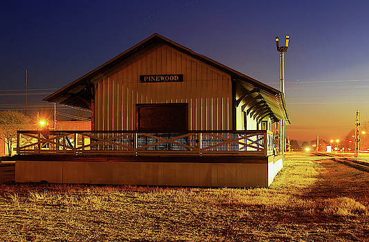 Pinewood South Carolina Depot 10 Color Night by Joseph C Hinson Photography