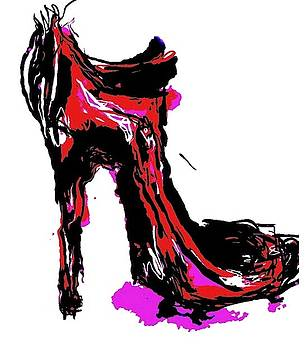 Pink And Purple High Heel Shoe by Angie Stimson