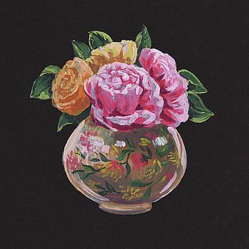 Irina Sztukowski - Pink And Yellow Roses Bouquet Floral Impressionism