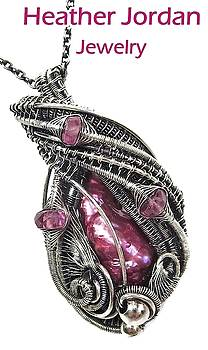 Pink Biwa Stick Freshwater Pearl Wire-Wrapped Pendant in Sterling Silver with Rubellite Tourmaline by Heather Jordan
