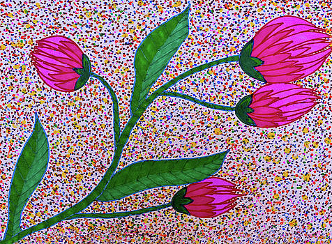 Pink Blossoms - Stipple by Marie Jamieson