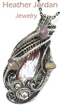 Pink Champagne Biwa Stick Freshwater Pearl Wire-Wrapped Pendant in Sterling Silver with Ethiopian We by Heather Jordan