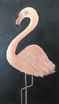 Pink Flamingo on Gray by Brenda Boss