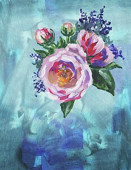 Irina Sztukowski - Pink Garden Rose On Teal Floral Impressionism