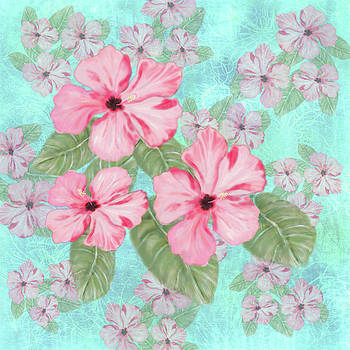 Pink Hibiscus Print on Aqua by Sand And Chi