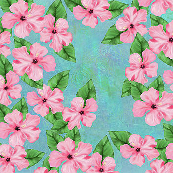 Pink Hibiscus Tropical Floral Print by Sand And Chi