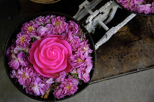 Pink Roses with rose candle on a container by Michalakis Ppalis
