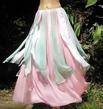 Sofia Metal Queen - Pink white sage-green multicolored skirt from Ameynra collection 4