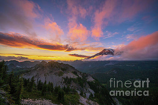 Pinnacle Saddle Rainier Fiery Sunset by Mike Reid