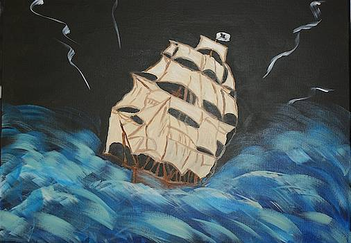 Pirate Ship in Storm by Yvonne Sewell
