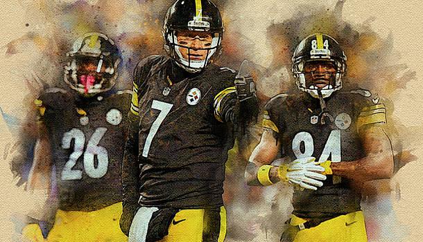 Pittsburgh Steelers.Ben Roethlisberger, Antonio Brown and Le'Veon Bell. by Nadezhda Zhuravleva