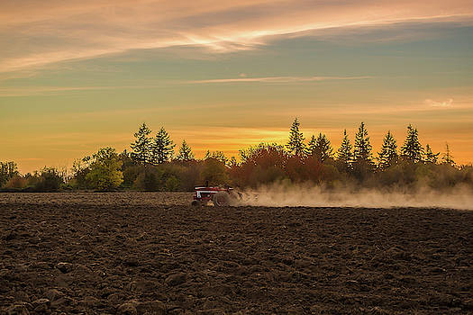 Plowing at sunset by Ulrich Burkhalter