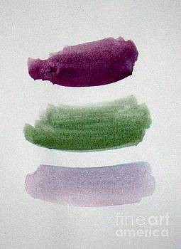 Plum Green Purple Strokes - abstract painting by Vesna Antic by Vesna Antic