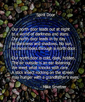 Poem Spirit Door over Lapis Spiral in Bed of Tourmaline by Mike Smetzer