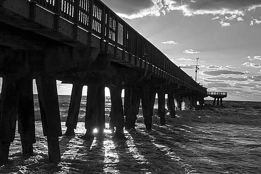 Toby McGuire - Pompano Beach Fishing Pier at Sunrise Florida Sunrays Black and White