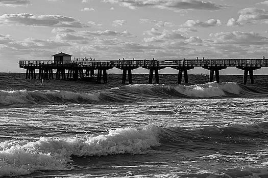Toby McGuire - Pompano Beach Fishing Pier at Sunrise Florida Sunrise Waves Black and White