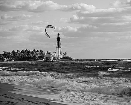 Toby McGuire -  Pompano Beach Kiteboarder Hillsboro Lighthouse Waves Black and White
