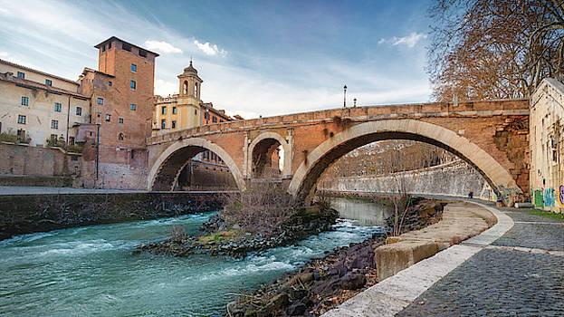 Ponte Fabricio Rome Italy by Joan Carroll